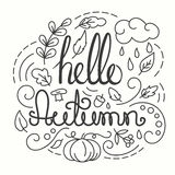 Hello Autumn Card with lettering. Stock Image