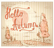 Hello autumn card. Royalty Free Stock Image