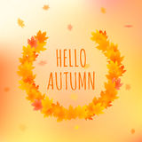 Hello autumn card, vector illustration with text. Hello autumn vector card. Vector illustration of background with leaves around greeting text Royalty Free Stock Photo