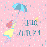 Hello autumn cartoon poster. Hello Autumn background with a girl flying with umbrella on rain drops background vector illustration