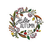 Hello autumn. In circle with leaves stock illustration