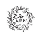 Hello autumn. In circle with leaves royalty free illustration