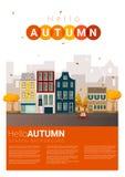 Hello autumn cityscape background Royalty Free Stock Photo