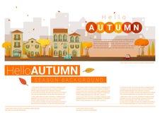 Hello autumn cityscape background Royalty Free Stock Image