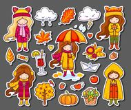 Hello Autumn collection. Vector illustration of colorful doodle fall symbols. Vector Illustration