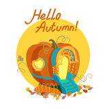 Hello autumn. Colorful illustration of seasons theme in vector. Hello autumn concept. Modern vintage colors, flat design. Mug with hot tea and coffee, maple leaf Stock Images