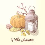 Hello Autumn Composition with Pumpkin and Candle. Fall Harvest Season Stock Photos