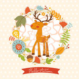 Hello autumn concept card with cute deer Stock Photography