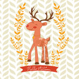 Hello autumn concept card with cute deer Stock Photo
