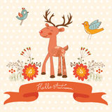 Hello autumn concept card with cute deer Royalty Free Stock Photo