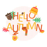 Hello Autumn concept vector background with autumn icons Royalty Free Stock Photography