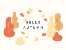 Hello autumn concept vector illustration in flat minimalistic design. Yellow trees and bushes and falling leaves around. Text place for banner design Vector Illustration