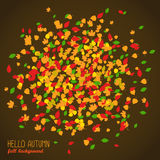 Hello Autumn. Copy space with falling leaves. Round area made of autumn leaves. Warm fall colors. Dark background. Text frame. Colorful foliage postcard in stock illustration