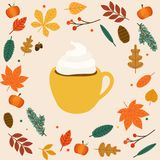 Hello autumn. Cup of coffee/latte Autumn leafs on the background Stock Photography