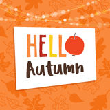 Hello autumn, fall background. Greeting card, invitation with maple, beech and oak leaves, apple and bokeh lights. Vector. Illustration Stock Photo