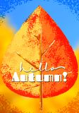 Hello Autumn or fall seasonal poster with grungy yellow and red leaf Stock Photos