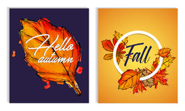 Hello Autumn Fall Typographic Paint Watercolor Fall Leaves Poste Stock Image