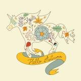 Hello autumn floral unicorn horse Stock Photography