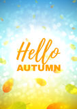 Hello autumn flyer. Beautiful background with the falling leaves. Vector template of brochure with place for text for your business in A4 size Stock Photos
