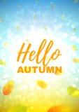 Hello autumn flyer Stock Photos