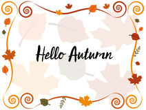 Hello Autumn. With frame and leaves in background Stock Images