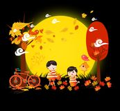 Hello autumn funny kids of a forest in autumn with leaves falling and bicycle under the moonlight Stock Images