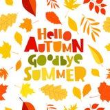 Hello autumn. Goodbye, Summer. stock illustration