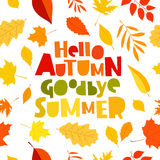 Hello autumn. Goodbye, Summer. Stock Photos