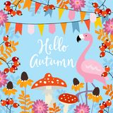 Hello autumn greeting card with hand drawn leaves, rowan berries, black-eyed susan flowers. Invitation with flamingo Stock Images