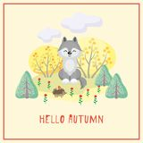 Wolf and autumn trees. Hello autumn. Greeting card with the image of cute forest animal and trees in cartoon style. Children's illustration Stock Images