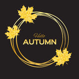 Hello Autumn. Greeting card with seasonal maple leaves. Fall leaves banner with golden glitter texture on a black background. Vector design illustration Royalty Free Stock Photography