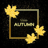 Hello Autumn. Greeting card with seasonal maple leaves. Fall leaves banner with golden glitter texture on a black background. Vector design illustration Stock Photo