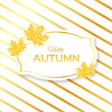 Hello Autumn. Greeting card with seasonal maple leaves. Fall leaves banner with golden glitter texture on a white background. Vector design illustration Stock Images