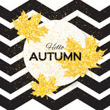 Hello Autumn. Greeting card with seasonal maple leaves. Fall leaves banner with golden glitter texture on a white black zigzag background. Vector design Royalty Free Stock Image