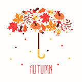 Hello autumn. Hand drawn abstract poster with leafs. Stock Images