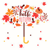 Hello autumn. Hand drawn abstract poster with leafs. Royalty Free Stock Photos