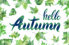 Hello autumn. Hand drawn different colored autumn leaves. Sketch, design elements. Vector illustration. Royalty Free Stock Photography