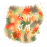 Hello autumn. hand drawn lettering on watercolor background Stock Image