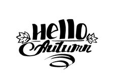 Hello autumn hand drawn lettering Stock Photography