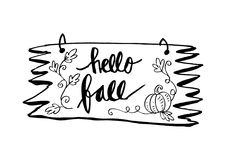 Hello Autumn - hand lettered quote Stock Photography