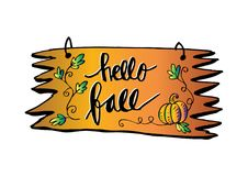 Hello Autumn - hand lettered quote Stock Image