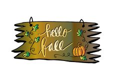 Hello Autumn - hand lettered quote Stock Images