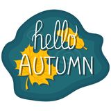 Hello autumn hand lettering phrase. Background puddle with leaves. Handwritten card. Vector illustration stock illustration