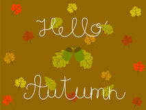 Hello Autumn Hand Written Concept with Oak and Maple Leaves. Vector art Royalty Free Stock Photo