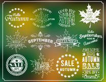 Hello Autumn and Hello September vintage labels. Autumn sale labels. Vector blurred autumn background with Vector set of autumn themed retro design elements Royalty Free Stock Photos