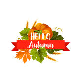 Hello Autumn icon with leaf and pumpkin vegetable Royalty Free Stock Images