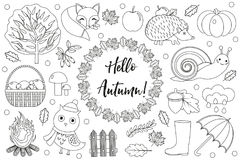 Hello Autumn icons set sketch, hand drawing, doodle style.Collection design elements with leaves, trees, mushrooms Royalty Free Stock Photography