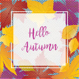 Hello Autumn. Inscription calligraphy on Autumn leafs background. Fall maple tree leaves border. Retro design. Thanksgiving Holiday, Halloween, Autumn Sale Royalty Free Stock Image