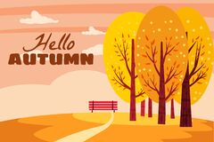 Free Hello Autumn Landscape. Fall Trees With Yellow Orange Leaves, Lonely Bench For Contemplation Of Autumn Nature Park Royalty Free Stock Photos - 194546098
