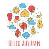 Hello autumn landscape print stock illustration